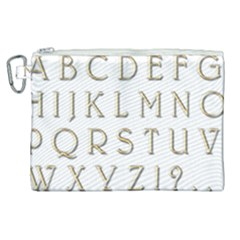 Letters Gold Classic Alphabet Canvas Cosmetic Bag (xl) by Sapixe