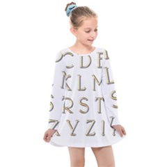 Letters Gold Classic Alphabet Kids  Long Sleeve Dress