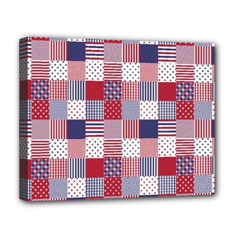 Usa Americana Patchwork Red White & Blue Quilt Deluxe Canvas 20  X 16   by PodArtist