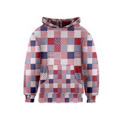 Usa Americana Patchwork Red White & Blue Quilt Kids  Pullover Hoodie