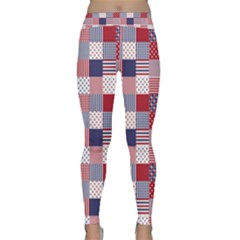 Usa Americana Patchwork Red White & Blue Quilt Classic Yoga Leggings
