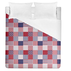 Usa Americana Patchwork Red White & Blue Quilt Duvet Cover (queen Size)