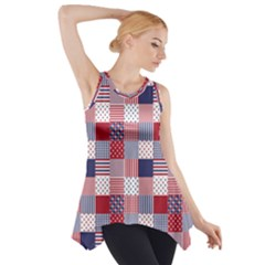 Usa Americana Patchwork Red White & Blue Quilt Side Drop Tank Tunic