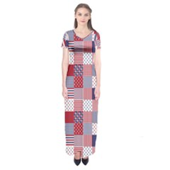Usa Americana Patchwork Red White & Blue Quilt Short Sleeve Maxi Dress
