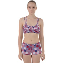 Usa Americana Patchwork Red White & Blue Quilt Women s Sports Set