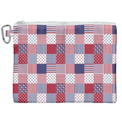 Usa Americana Patchwork Red White & Blue Quilt Canvas Cosmetic Bag (xxl) by PodArtist
