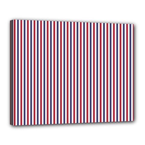 Usa Flag Red And Flag Blue Narrow Thin Stripes  Canvas 20  X 16  by PodArtist