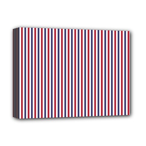 Usa Flag Red And Flag Blue Narrow Thin Stripes  Deluxe Canvas 16  X 12   by PodArtist