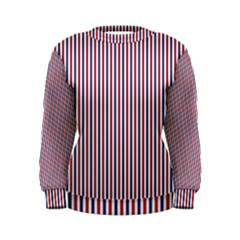 Usa Flag Red And Flag Blue Narrow Thin Stripes  Women s Sweatshirt by PodArtist