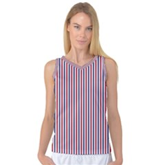 Usa Flag Red And Flag Blue Narrow Thin Stripes  Women s Basketball Tank Top