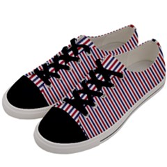 Usa Flag Red And Flag Blue Narrow Thin Stripes  Men s Low Top Canvas Sneakers by PodArtist
