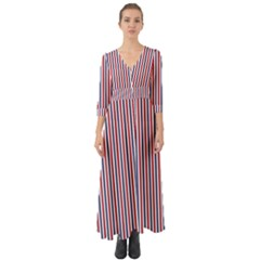 Usa Flag Red And Flag Blue Narrow Thin Stripes  Button Up Boho Maxi Dress by PodArtist
