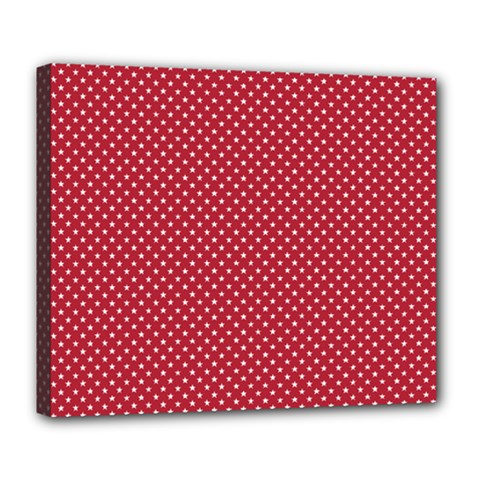 Usa Flag White Stars On Flag Red Deluxe Canvas 24  X 20
