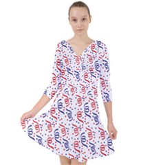 Red White And Blue Usa/uk/france Colored Party Streamers Quarter Sleeve Front Wrap Dress by PodArtist
