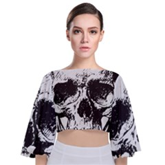 Skull Vintage Old Horror Macabre Tie Back Butterfly Sleeve Chiffon Top