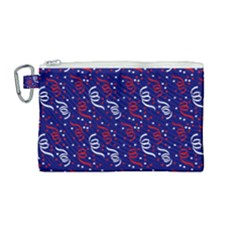 Red White And Blue Usa/uk/france Colored Party Streamers On Blue Canvas Cosmetic Bag (medium) by PodArtist