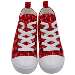 Red White And Blue Usa/uk/france Colored Party Streamers Kid s Mid Top Canvas Sneakers