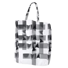 Geometry Square Black And White Giant Grocery Zipper Tote