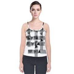 Geometry Square Black And White Velvet Spaghetti Strap Top