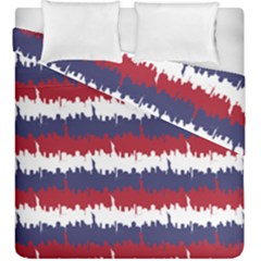 244776512ny Usa Skyline In Red White & Blue Stripes Nyc New York Manhattan Skyline Silhouette Duvet Cover Double Side (king Size) by PodArtist