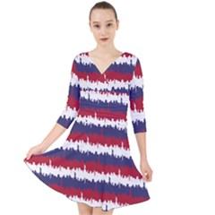 244776512ny Usa Skyline In Red White & Blue Stripes Nyc New York Manhattan Skyline Silhouette Quarter Sleeve Front Wrap Dress by PodArtist