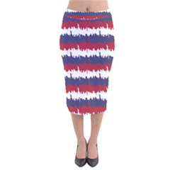 244776512ny Usa Skyline In Red White & Blue Stripes Nyc New York Manhattan Skyline Silhouette Velvet Midi Pencil Skirt by PodArtist