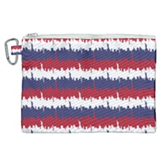 244776512ny Usa Skyline In Red White & Blue Stripes Nyc New York Manhattan Skyline Silhouette Canvas Cosmetic Bag (xl) by PodArtist