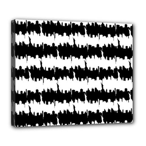 Black & White Stripes Nyc New York Manhattan Skyline Silhouette Deluxe Canvas 24  X 20   by PodArtist