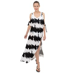 Black & White Stripes Nyc New York Manhattan Skyline Silhouette Maxi Chiffon Cover Up Dress
