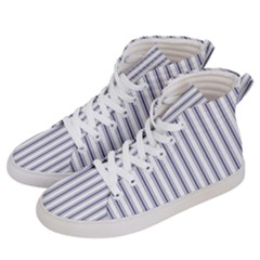 Mattress Ticking Wide Striped Pattern In Usa Flag Blue And White Men s Hi Top Skate Sneakers by PodArtist