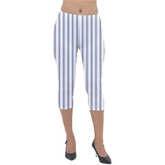 Mattress Ticking Wide Striped Pattern In Usa Flag Blue And White Lightweight Velour Capri Leggings