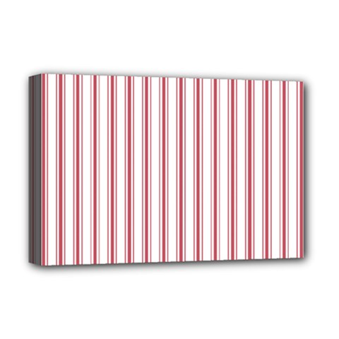 Mattress Ticking Wide Striped Pattern In Usa Flag Red And White Deluxe Canvas 18  X 12   by PodArtist