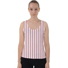 Mattress Ticking Wide Striped Pattern In Usa Flag Red And White Velvet Tank Top