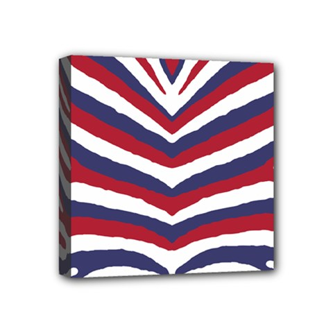 Us United States Red White And Blue American Zebra Strip Mini Canvas 4  X 4  by PodArtist