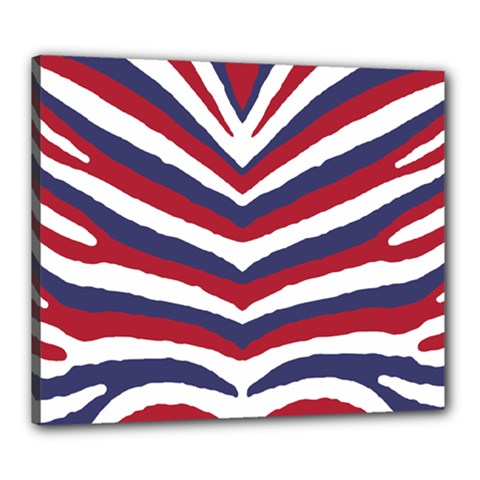 Us United States Red White And Blue American Zebra Strip Canvas 24  X 20  by PodArtist