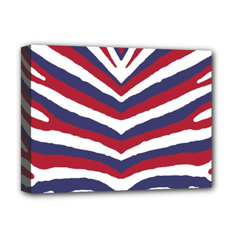 Us United States Red White And Blue American Zebra Strip Deluxe Canvas 16  X 12   by PodArtist