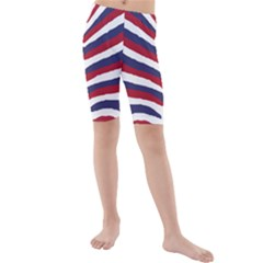 Us United States Red White And Blue American Zebra Strip Kids  Mid Length Swim Shorts by PodArtist