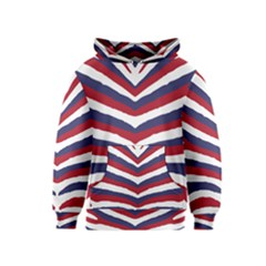 Us United States Red White And Blue American Zebra Strip Kids  Pullover Hoodie by PodArtist