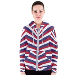 Us United States Red White And Blue American Zebra Strip Women s Zipper Hoodie by PodArtist