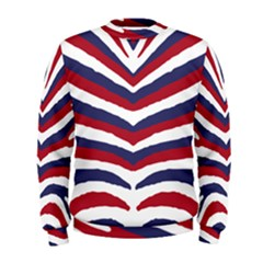 Us United States Red White And Blue American Zebra Strip Men s Sweatshirt by PodArtist