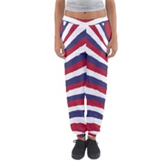 Us United States Red White And Blue American Zebra Strip Women s Jogger Sweatpants by PodArtist