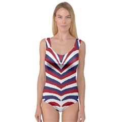 Us United States Red White And Blue American Zebra Strip Princess Tank Leotard  by PodArtist