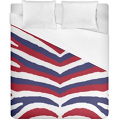 Us United States Red White And Blue American Zebra Strip Duvet Cover (california King Size) by PodArtist