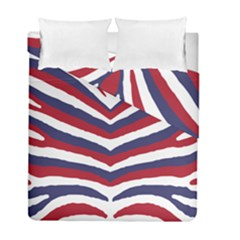 Us United States Red White And Blue American Zebra Strip Duvet Cover Double Side (full/ Double Size) by PodArtist