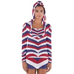 Us United States Red White And Blue American Zebra Strip Long Sleeve Hooded T-shirt by PodArtist
