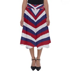 Us United States Red White And Blue American Zebra Strip Perfect Length Midi Skirt