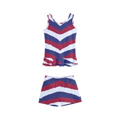Us United States Red White And Blue American Zebra Strip Kid s Boyleg Swimsuit by PodArtist