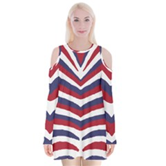 Us United States Red White And Blue American Zebra Strip Velvet Long Sleeve Shoulder Cutout Dress