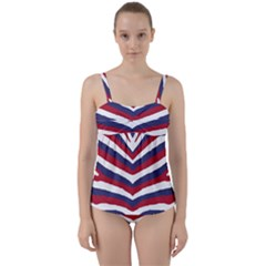 Us United States Red White And Blue American Zebra Strip Twist Front Tankini Set by PodArtist