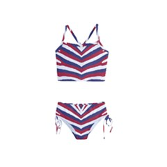Us United States Red White And Blue American Zebra Strip Girls  Tankini Swimsuit by PodArtist